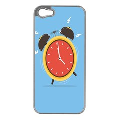 Alarm Clock Weker Time Red Blue Apple Iphone 5 Case (silver) by Alisyart