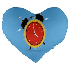Alarm Clock Weker Time Red Blue Large 19  Premium Heart Shape Cushions