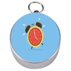 Alarm Clock Weker Time Red Blue Silver Compasses by Alisyart