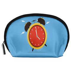 Alarm Clock Weker Time Red Blue Accessory Pouches (large)  by Alisyart