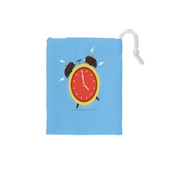 Alarm Clock Weker Time Red Blue Drawstring Pouches (small)  by Alisyart