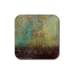 Aqua Textured Abstract Rubber Square Coaster (4 Pack)  by digitaldivadesigns