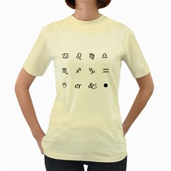 Set Of Black Web Dings On White Background Abstract Symbols Women s Yellow T Shirt