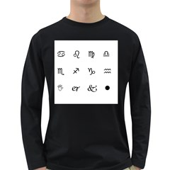 Set Of Black Web Dings On White Background Abstract Symbols Long Sleeve Dark T Shirts by Amaryn4rt