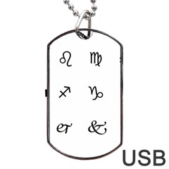 Set Of Black Web Dings On White Background Abstract Symbols Dog Tag Usb Flash (two Sides) by Amaryn4rt