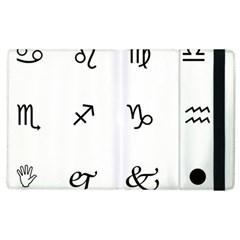 Set Of Black Web Dings On White Background Abstract Symbols Apple Ipad 3/4 Flip Case by Amaryn4rt