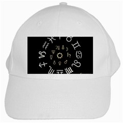 Astrology Chart With Signs And Symbols From The Zodiac Gold Colors White Cap by Amaryn4rt