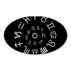 Astrology Chart With Signs And Symbols From The Zodiac Gold Colors Oval Magnet by Amaryn4rt