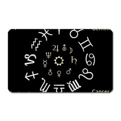 Astrology Chart With Signs And Symbols From The Zodiac Gold Colors Magnet (rectangular) by Amaryn4rt