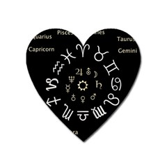 Astrology Chart With Signs And Symbols From The Zodiac Gold Colors Heart Magnet by Amaryn4rt