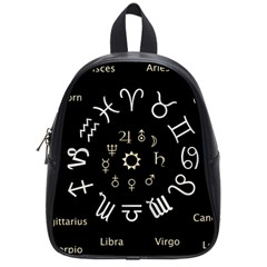 Astrology Chart With Signs And Symbols From The Zodiac Gold Colors School Bags (small)  by Amaryn4rt