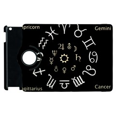 Astrology Chart With Signs And Symbols From The Zodiac Gold Colors Apple Ipad 3/4 Flip 360 Case by Amaryn4rt