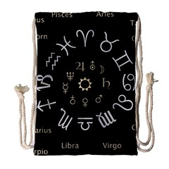 Astrology Chart With Signs And Symbols From The Zodiac Gold Colors Drawstring Bag (large)