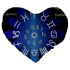 Astrology Birth Signs Chart Large 19  Premium Flano Heart Shape Cushions by Amaryn4rt