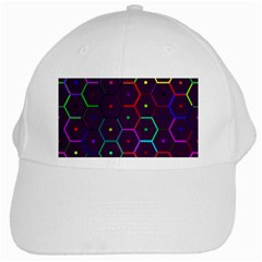 Color Bee Hive Pattern White Cap by Amaryn4rt