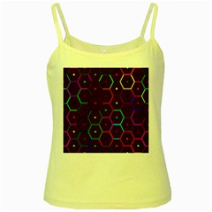 Color Bee Hive Pattern Yellow Spaghetti Tank by Amaryn4rt