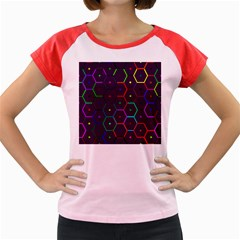 Color Bee Hive Pattern Women s Cap Sleeve T Shirt by Amaryn4rt