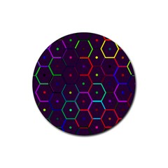 Color Bee Hive Pattern Rubber Round Coaster (4 Pack)  by Amaryn4rt