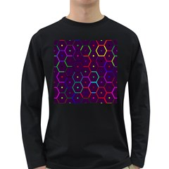 Color Bee Hive Pattern Long Sleeve Dark T Shirts by Amaryn4rt