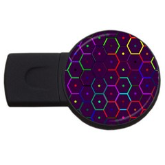 Color Bee Hive Pattern Usb Flash Drive Round (4 Gb) by Amaryn4rt
