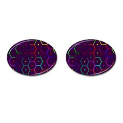 Color Bee Hive Pattern Cufflinks (oval) by Amaryn4rt