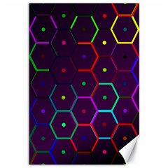 Color Bee Hive Pattern Canvas 12  X 18   by Amaryn4rt
