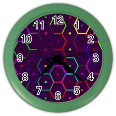 Color Bee Hive Pattern Color Wall Clocks by Amaryn4rt