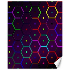 Color Bee Hive Pattern Canvas 11  X 14   by Amaryn4rt