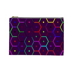 Color Bee Hive Pattern Cosmetic Bag (large)
