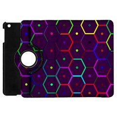 Color Bee Hive Pattern Apple Ipad Mini Flip 360 Case by Amaryn4rt
