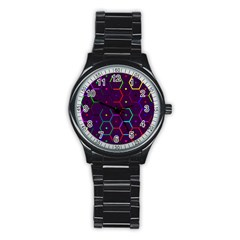 Color Bee Hive Pattern Stainless Steel Round Watch by Amaryn4rt