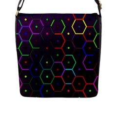 Color Bee Hive Pattern Flap Messenger Bag (l)  by Amaryn4rt