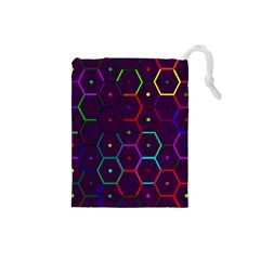 Color Bee Hive Pattern Drawstring Pouches (small)  by Amaryn4rt