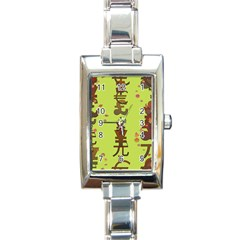 Set Of Monetary Symbols Rectangle Italian Charm Watch by Amaryn4rt