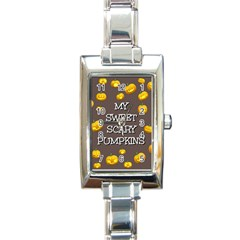 Scary Sweet Funny Cute Pumpkins Hallowen Ecard Rectangle Italian Charm Watch by Amaryn4rt