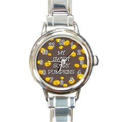 Scary Sweet Funny Cute Pumpkins Hallowen Ecard Round Italian Charm Watch by Amaryn4rt