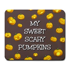 Scary Sweet Funny Cute Pumpkins Hallowen Ecard Large Mousepads by Amaryn4rt
