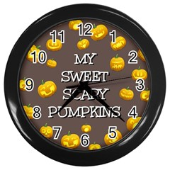 Scary Sweet Funny Cute Pumpkins Hallowen Ecard Wall Clocks (black) by Amaryn4rt