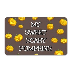Scary Sweet Funny Cute Pumpkins Hallowen Ecard Magnet (rectangular) by Amaryn4rt