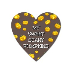 Scary Sweet Funny Cute Pumpkins Hallowen Ecard Heart Magnet by Amaryn4rt