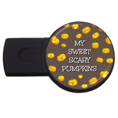 Scary Sweet Funny Cute Pumpkins Hallowen Ecard Usb Flash Drive Round (4 Gb) by Amaryn4rt