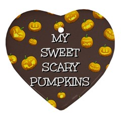 Scary Sweet Funny Cute Pumpkins Hallowen Ecard Heart Ornament (two Sides) by Amaryn4rt