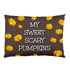 Scary Sweet Funny Cute Pumpkins Hallowen Ecard Pillow Case by Amaryn4rt