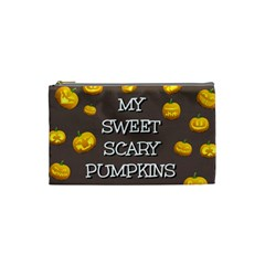 Scary Sweet Funny Cute Pumpkins Hallowen Ecard Cosmetic Bag (small)  by Amaryn4rt