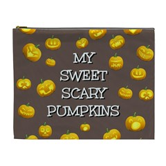 Scary Sweet Funny Cute Pumpkins Hallowen Ecard Cosmetic Bag (xl) by Amaryn4rt