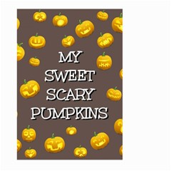 Scary Sweet Funny Cute Pumpkins Hallowen Ecard Large Garden Flag (two Sides) by Amaryn4rt