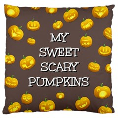Scary Sweet Funny Cute Pumpkins Hallowen Ecard Large Cushion Case (one Side) by Amaryn4rt