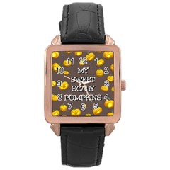 Scary Sweet Funny Cute Pumpkins Hallowen Ecard Rose Gold Leather Watch  by Amaryn4rt