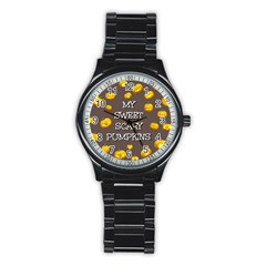 Scary Sweet Funny Cute Pumpkins Hallowen Ecard Stainless Steel Round Watch by Amaryn4rt