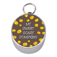 Scary Sweet Funny Cute Pumpkins Hallowen Ecard Mini Silver Compasses